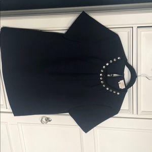 kate spade Tops - Kate Spade Rhinestone Collar Navy Blue Blouse